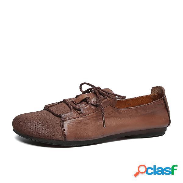 Socofy zapatos planos casuales con cordones de corte ancho y cómodo con punta redonda de empalme de color sólido de cuero retro
