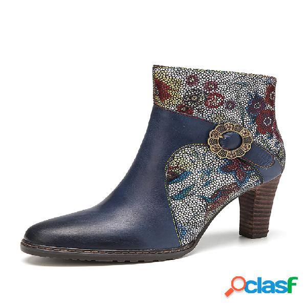 Socofy elegante flores impresas empalme piel de vaca hebilla decoración tacón alto corto botas