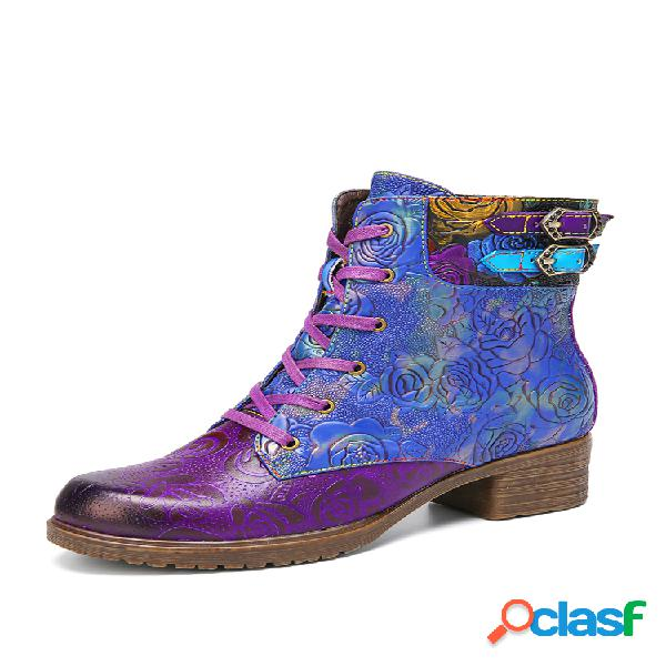 Socofy retro en relieve piel genuina cálido, usable, con cordones, cremallera, tacón grueso, corto botas