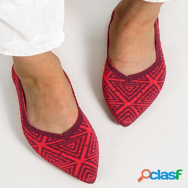 Tallas grandes mujer geométrico de punto patrón zapatos planos sin cordones en punta