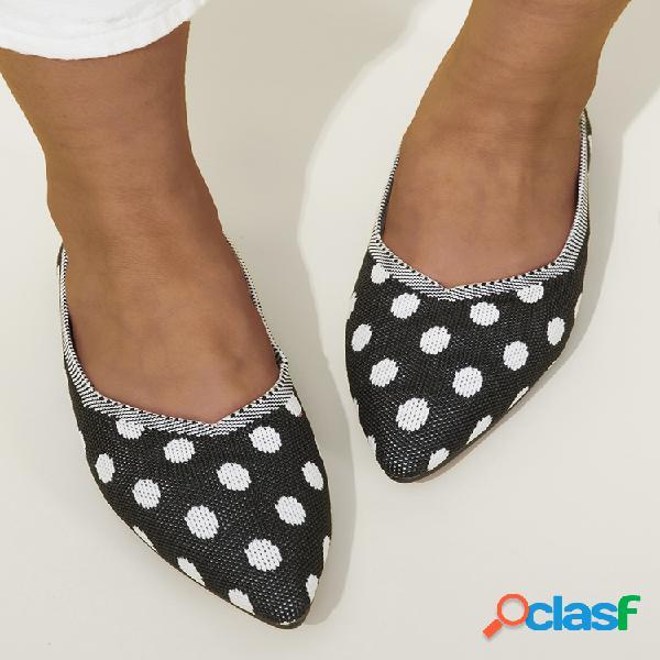 Tallas grandes mujer zapatos planos cómodos de punto con lunares en punta