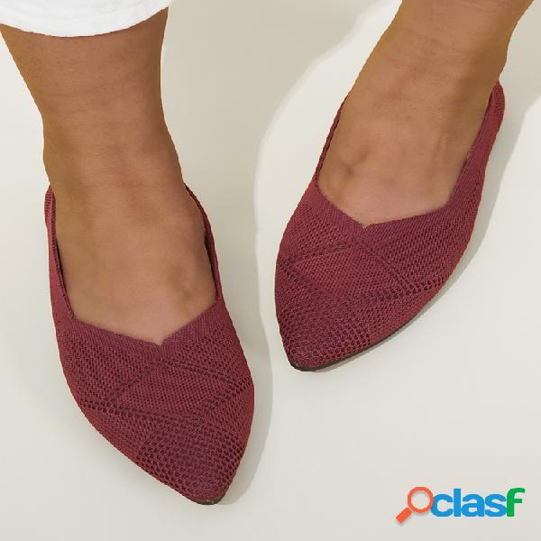 Tallas grandes mujer zapatos planos sin cordones con punta en punta sólida de argyle de punto