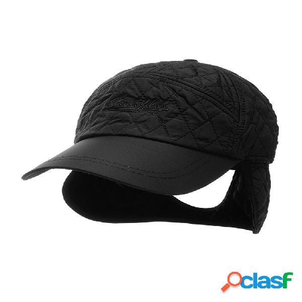 Hombre mujer color sólido oreja protección gorra de béisbol de terciopelo cálido invierno ajustable casual sombrero
