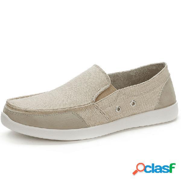 Hombres de lona lavada transpirable soft slip on zapatos casuales