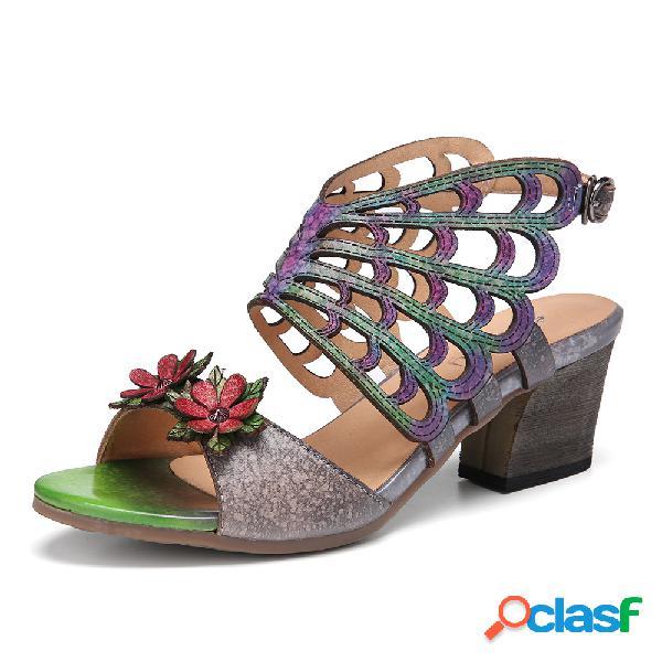 Socofy cuero floral recorte alas de mariposa hebilla slingback tacón en bloque sandalias
