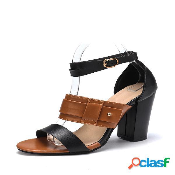 Tallas grandes mujer doble banda zapatos de salón con hebilla zapatos gruesos