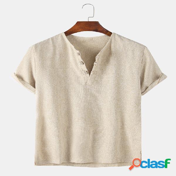 Camiseta de hogar casual con hebilla de color sólido de lino de algodón para hombre