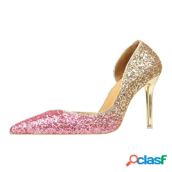 Mujeres lentejuelas cambio gradual d'orsay pumps fine heels