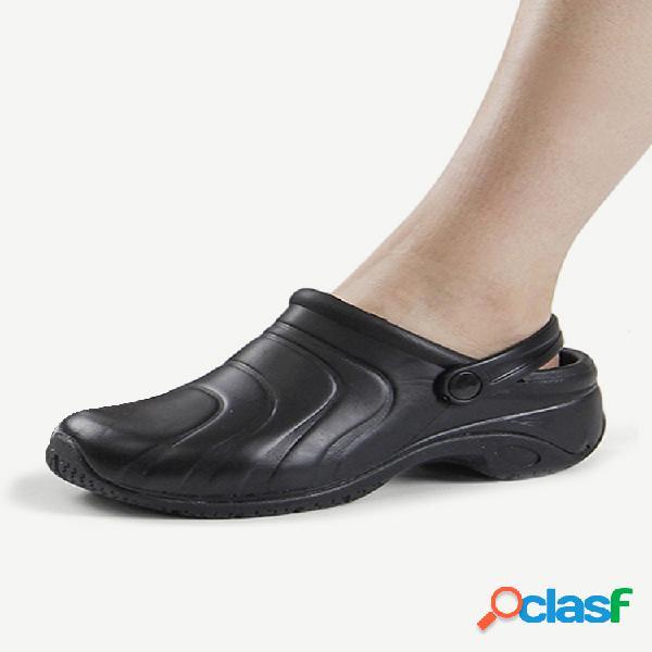 Mujeres cómodas y respetuosas con el medio ambiente de goma color sólido negro slingback flats