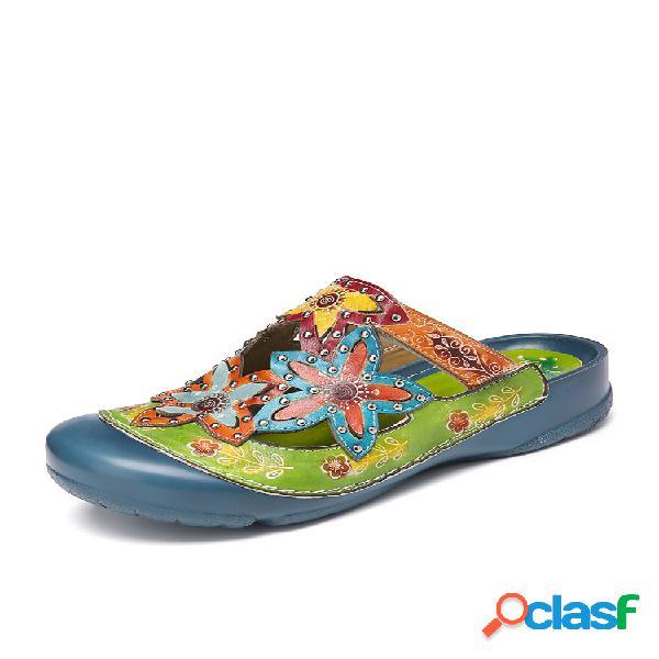 Socofy zuecos planos deslizantes deslizantes florales con tachuelas de cuero hechos a mano sandalias