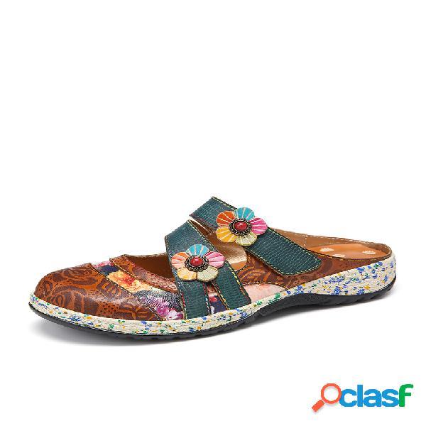 Socofy vendimia cuero hecho a mano floral gancho correa de lazo slip on mulas zuecos zapatos planos