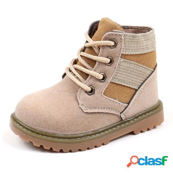 Costura con cordones para niños soft suela corta botas para niños pequeños y niños