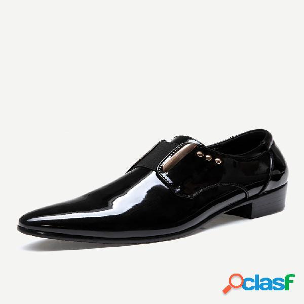 Hombre classic elásticos con punta puntiaguda banda sin cordones formales vestido zapatos