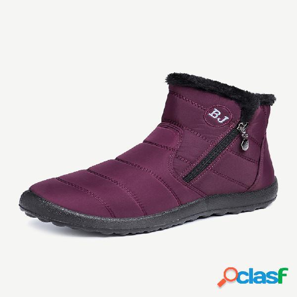 Mujer impermeable forro cálido con cremallera soft suela corta tobillo nieve botas