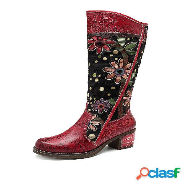 Socofy cowgirl flower patrón piel genuina empalme jacquard cómoda rodilla botas