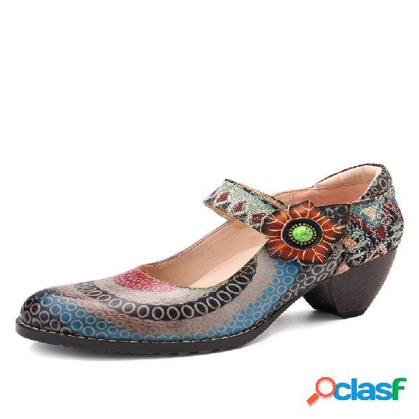 Socofy floral piel genuina círculo de empalme patrón colorful costura de rayas gancho bombas de lazo
