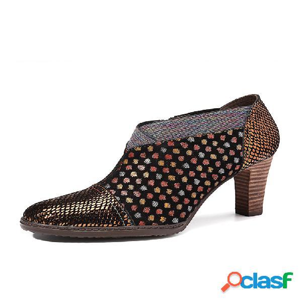 Socofy comfy piel genuina colorful zapatos de tacón alto con cremallera y costura de puntos ondulados