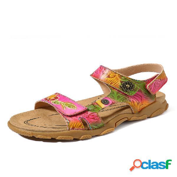 Socofy soft piel genuina flores pintadas a mano patrón hebilla retro ajustable gancho lazo sandalias