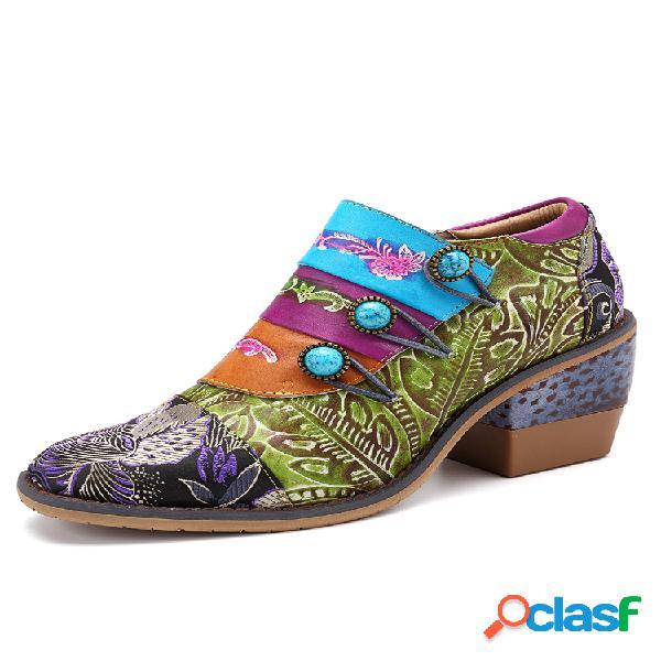 Socofy empalme de hebilla retro colorful piel genuina flores patrón zapatos de tacón con cremallera y costura
