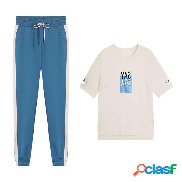 Traje casual de ropa deportiva para mujer pantalones de manga corta de algodón de dos piezas