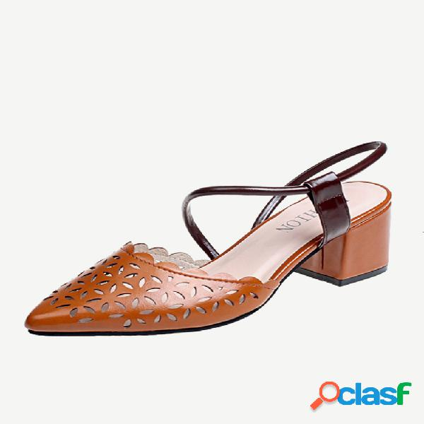 Mujeres puntiagudas respirables hueco tacón alto sandalias