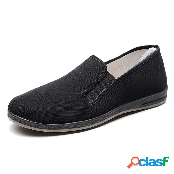 Hombres old peking style comfy soft slip on cloth shoes
