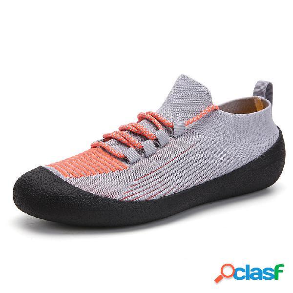 Hombres transpirable tejido de punto de goma casquillo del dedo del pie deportes calcetines casuales