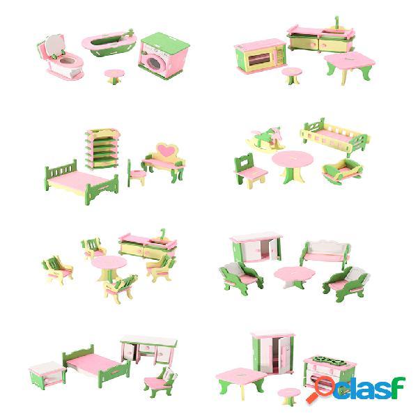 Juego de 10 muebles de madera en miniatura para niños, casa de muñecas, juego de simulación, regalo de juguete
