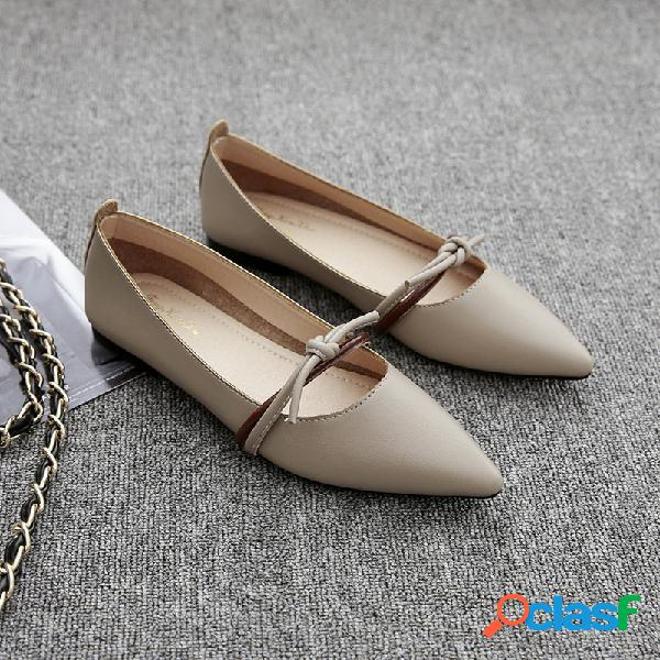Mujer Nudo de mariposa puntiagudo Soft Zapatos planos informales de cuero