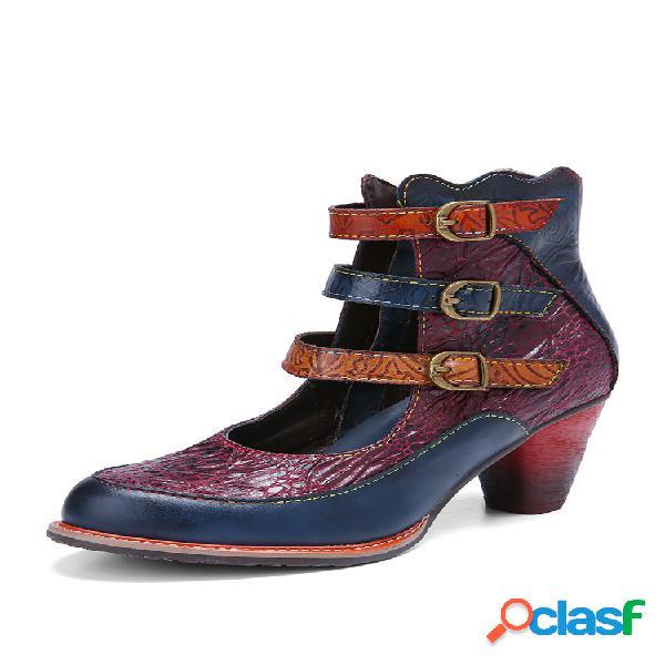 Socofy vendimia piel de vacuno repujada cómoda antideslizante correa con hebilla de tres colores corta botas