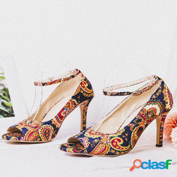 Mujeres de gran tamaño fiesta folkway estampado stiletto heel peep toe hebilla correa sandalias