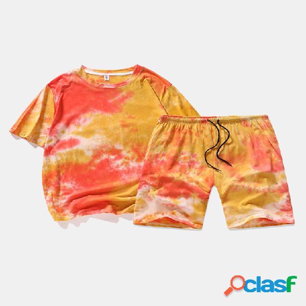 Pantalones cortos con cordón transpirable de algodón con estampado tie-dye para hombre trajes casuales de dos piezas