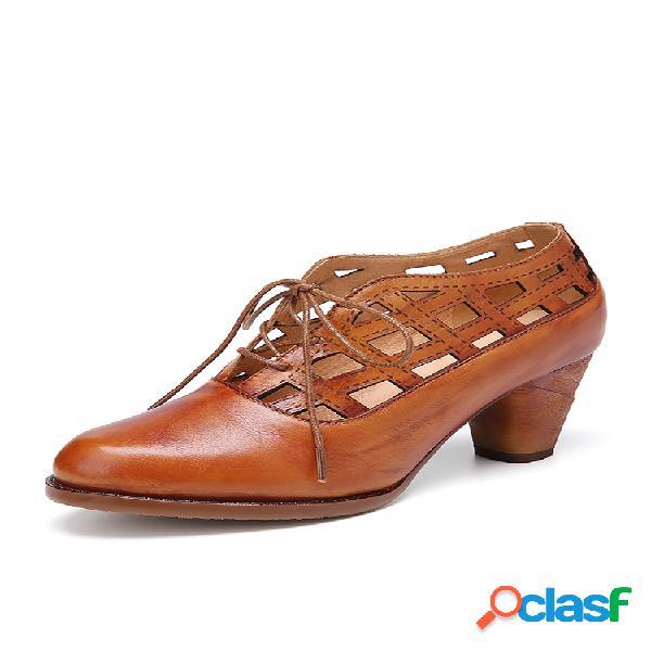 Socofy zapatos de tacones con cordones casaul cómodos y cómodos de piel de vaca de color sólido con recorte retro