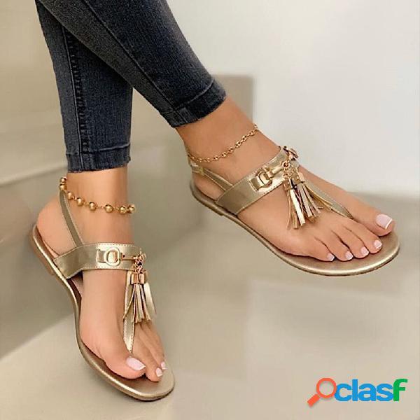 Gran tamaño mujer color sólido borla clip punta plana sandalias