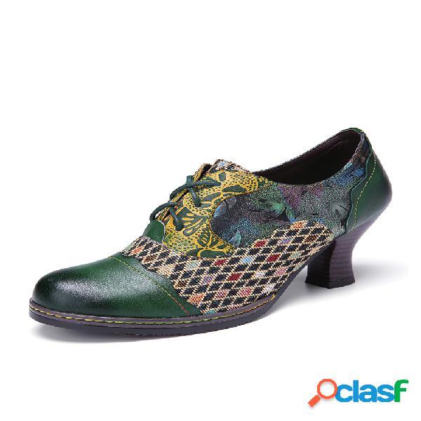 Socofy vendimia zapatos de tacón grueso verdes con cordones y empalme de cuadros florales de cuero