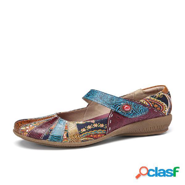 Socofy vendimia cuero con empalme en contraste de cachemir gancho zapatos informales con cuña y correa de lazo