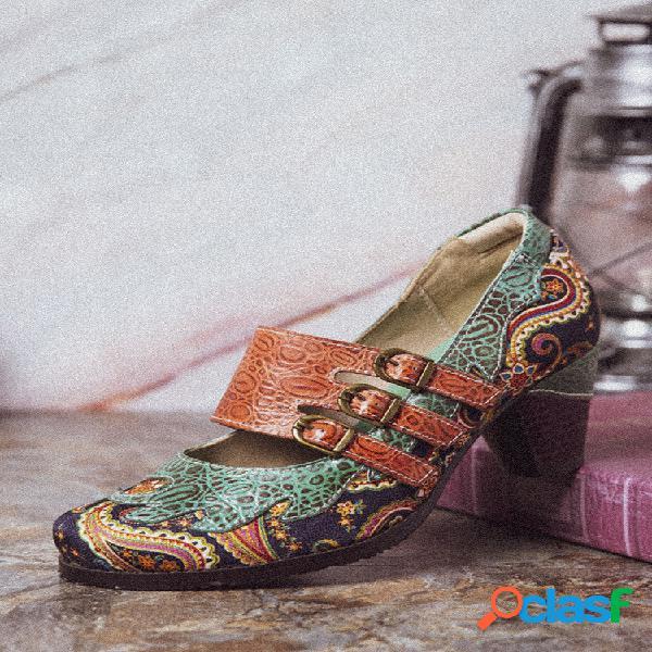 Socofy vendimia paisley empalme de cuero correas ajustables con hebilla resbalón en zapatos de tacón grueso