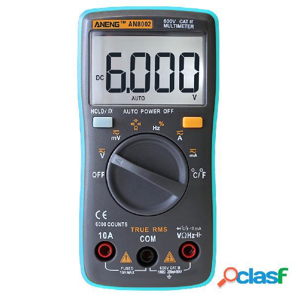 Aneng an8002 digital true rms multímetro probador de temperatura de resistencia de frecuencia de voltaje de corriente ca cc