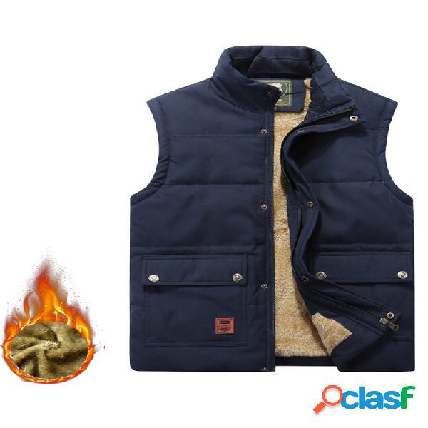 Casual comfy al aire libre impermeable chaleco de color sólido con bolsillos multifunción de lana gruesa