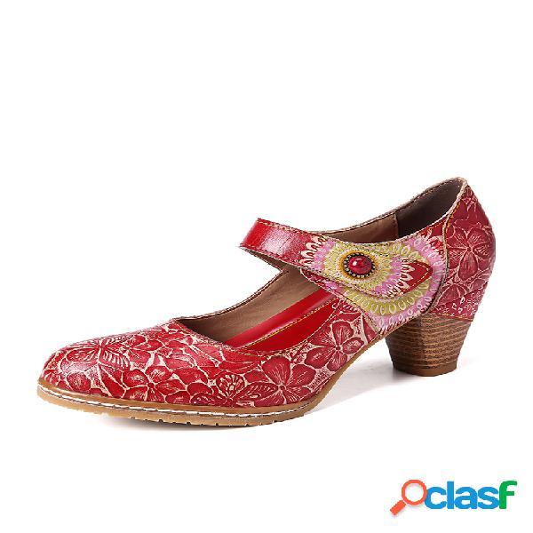 Socofy retro cuero gofrado floral gancho zapatos de tacón grueso con correa de lazo en el tobillo