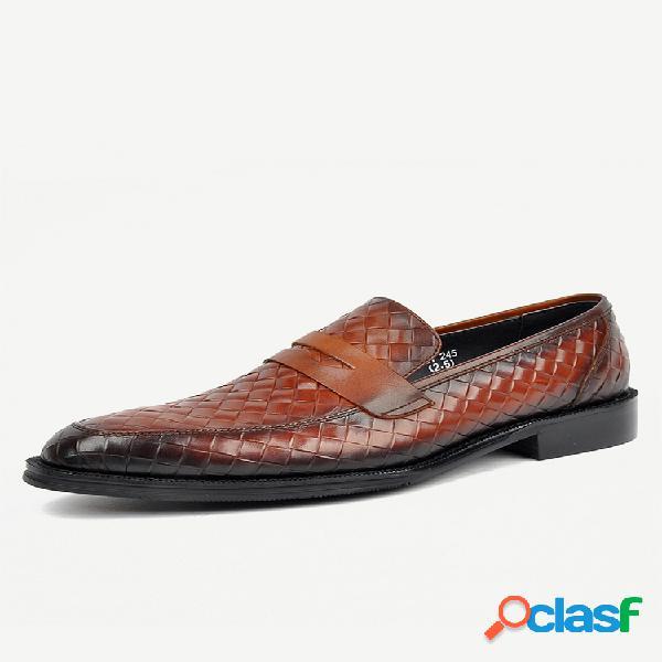 Mocasines tipo centavo estilo tejido para hombre sin cordones casual zapatillas