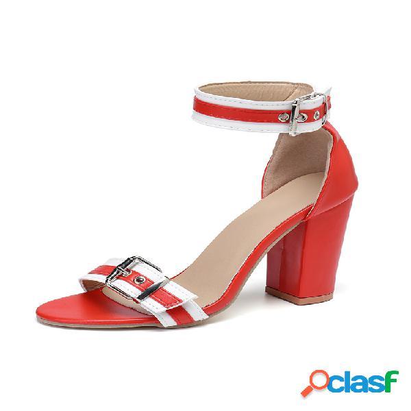 Tallas grandes mujer zapatos de salón con hebilla gruesa con decoración de metal