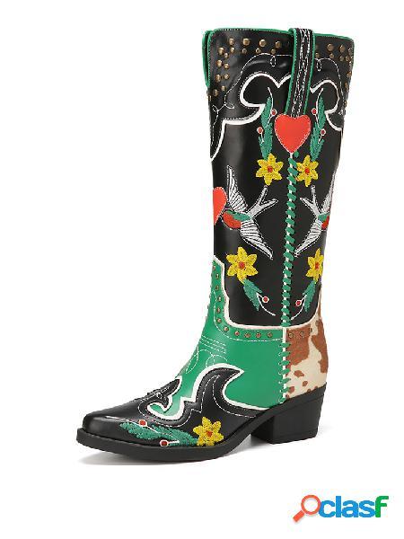 Socofy tacón de bloque sin cordones cómodo y retro bordado a media pierna botas