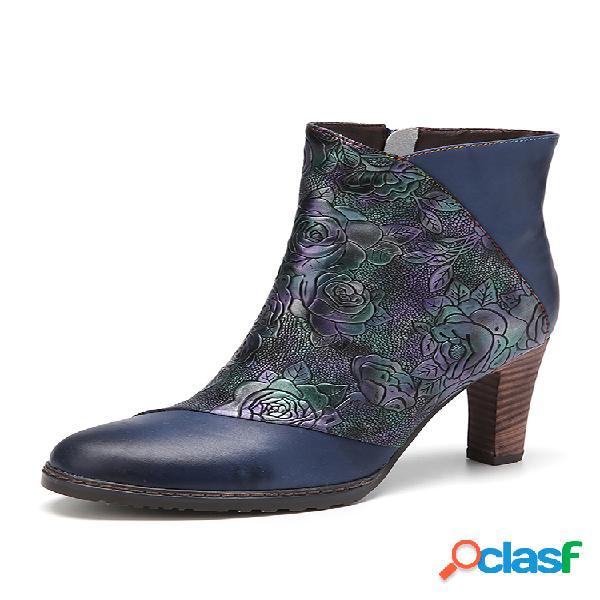 Socofy vendimia flores en relieve piel genuina empalme de color sólido cómodo usable cremallera tacón alto corto botas