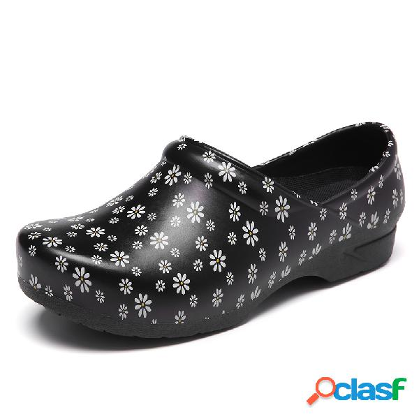 Socofy floral ligero floral sin cordones impermeable zapatos de trabajo antideslizantes para jardín zapatos de enfermería