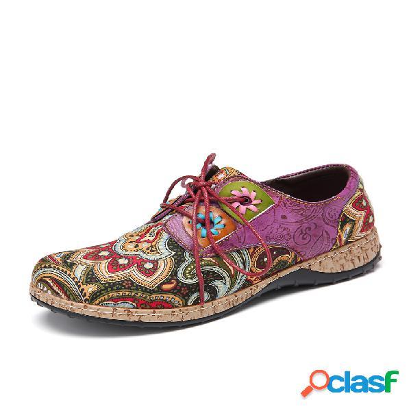 Socofy folkways patrón zapatos planos cómodos con cordones de empalme de cuero