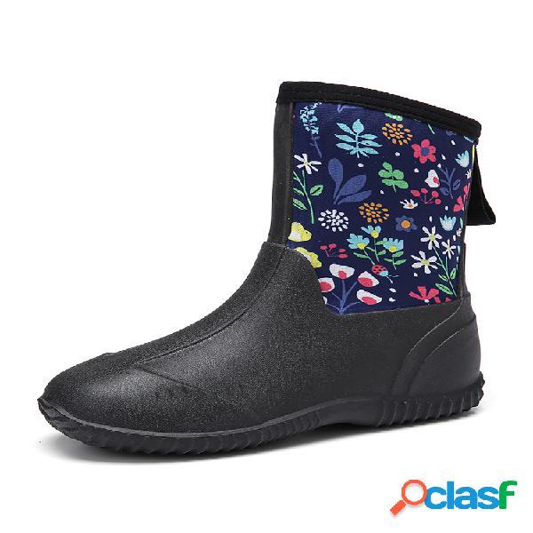Socofy caucho natural floral impermeable antideslizante sin cordones para lluvia plana botas zapatos de trabajo de jardín