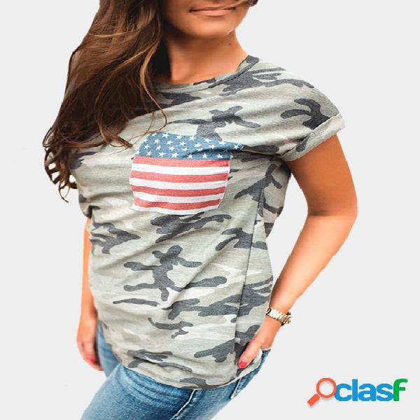 Manga corta camuflaje patrón camiseta