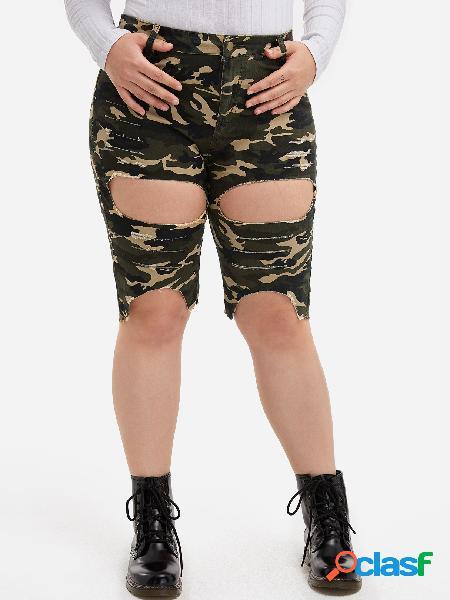 Pantalones cortos de talle alto con corte camo en talla grande de camo
