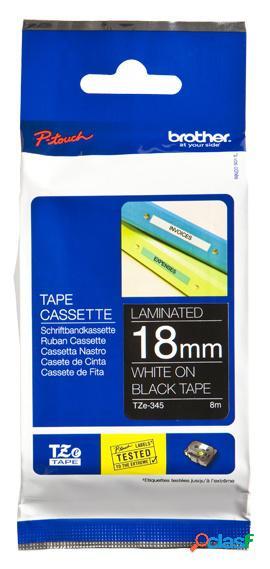 Cinta brother tze345 blanco sobre negro, 18mm x 8m